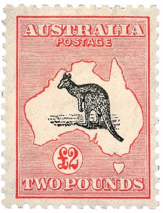 The first official Australian stamp - the 'kangaroo and map' stamp. (Credit: Wikimedia)