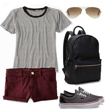 How to wear VANS, summer outfit, ray bans, burgundy shorts, striped tee, leather backpack