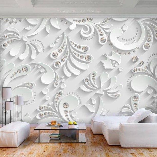 Carta Da Parati 3 D.Carta Da Parati 3d Flowers With Crystals Mural Wallpaper Wall Murals 3d Wallpaper Mural