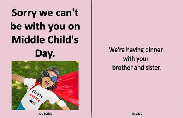 Presenting Middle Child's Day Greeting Cards