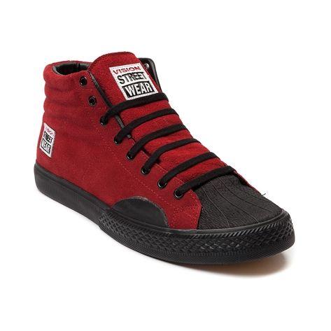 Mens Vision Street Wear Suede Hi Skate Shoe in Red at Journeys Shoes.