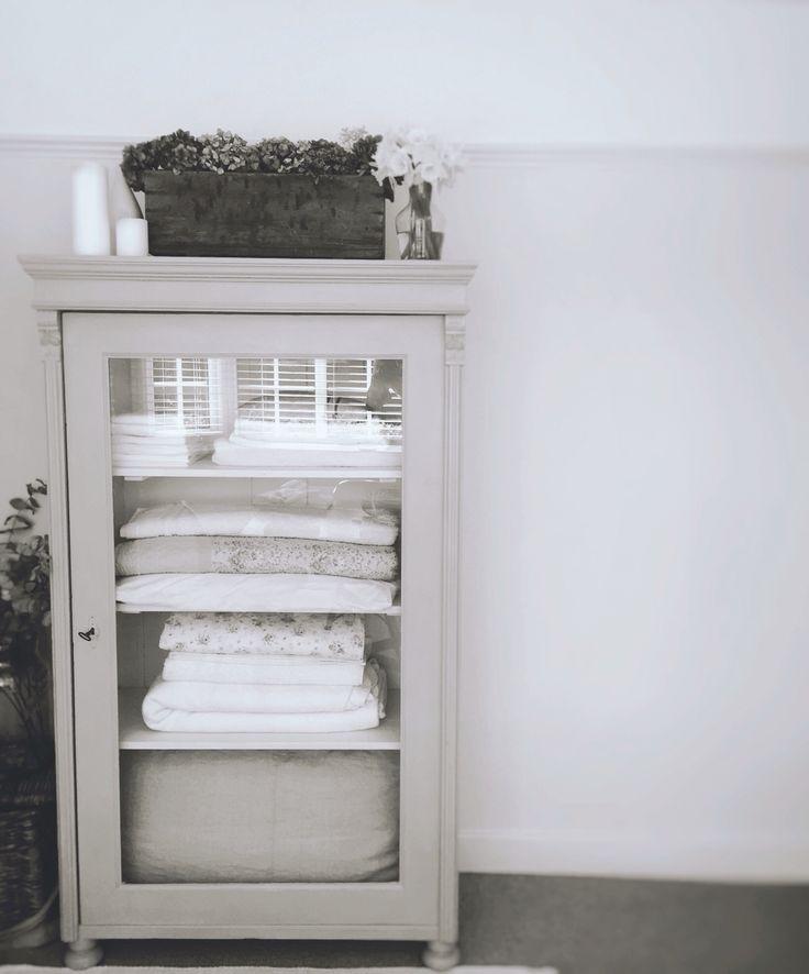 Rustic Painted Antique Linen Cupboard
