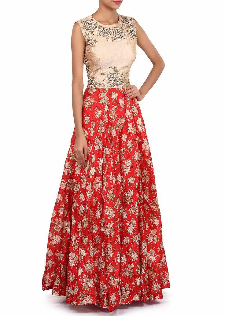 Red anarkali gown adorn in print only on Kalki