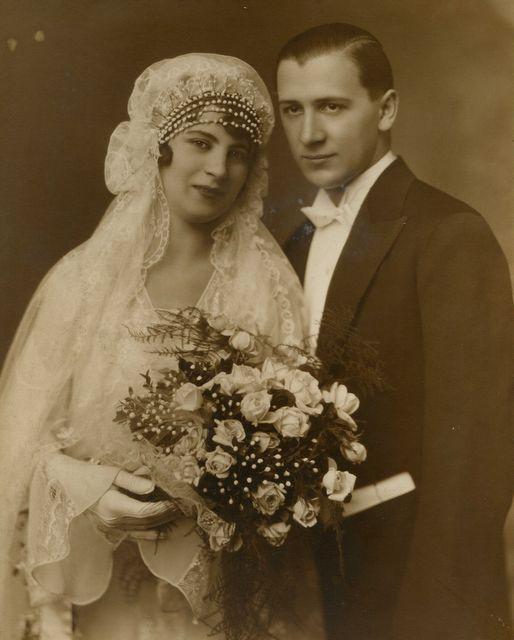 Vintage photo Bride and groom