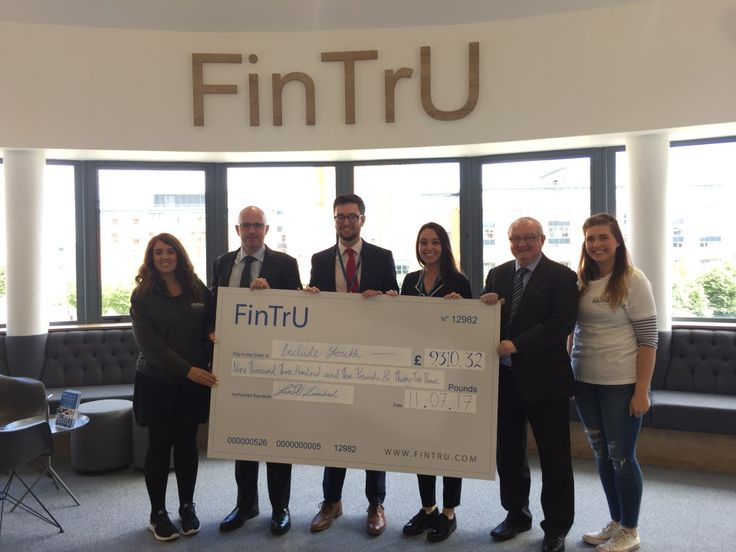 Staff and young people at Include Youth were completely overwhelmed last week, when they were presented with a larger than life cheque for £9,310, from the generous staff at FinTrU Ltd. The staff at FinTrU have been enthusiastically fundraising over the past six months with bake sales, 5k runs, pub quizzes and pool tournaments.