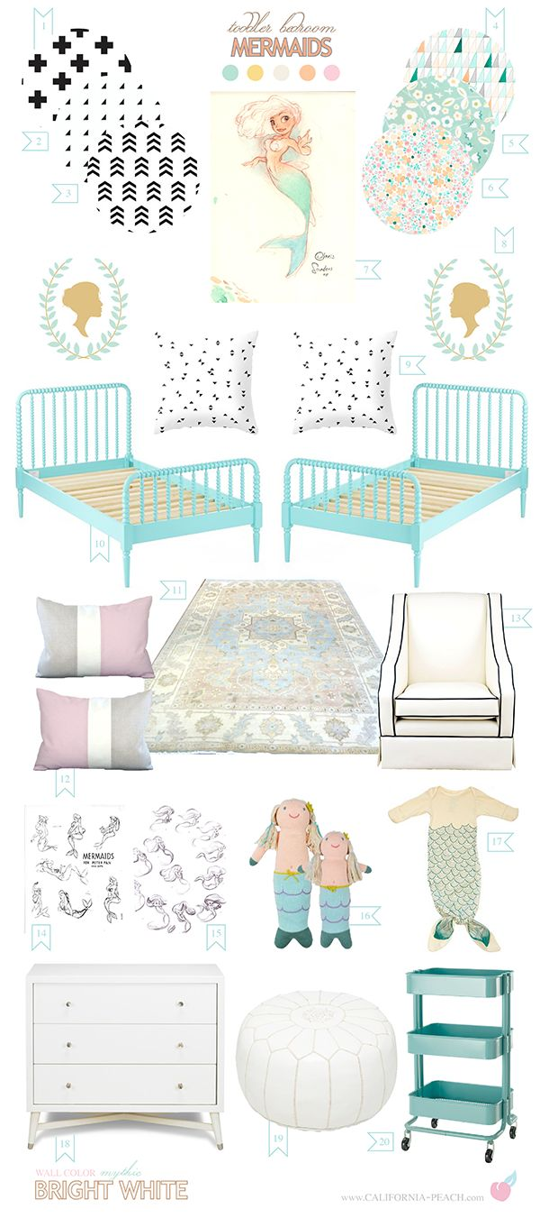 California Peach: Mermaids | Shared Toddler Bedroom || Coral, Feminine, Girly, Shared,  Space, toddler, Black, Peach, Coral, Pink, Aqua, Blue, Yellow, Orange, White, California Peach, Jenny Lind, Glider, Swiss Cross, Color Block, Custom, Triangles, Triangle, Mermaid, Mermaids, decor, toddler, toddler, bedroom, room, girl, girls, 0-VOC, Organic, Mid-Century, Silhouettes, Concept Art, Pre Production, Animation, Animators, Visual Development, Chris Sanders, Glen Keane, Peter Pan