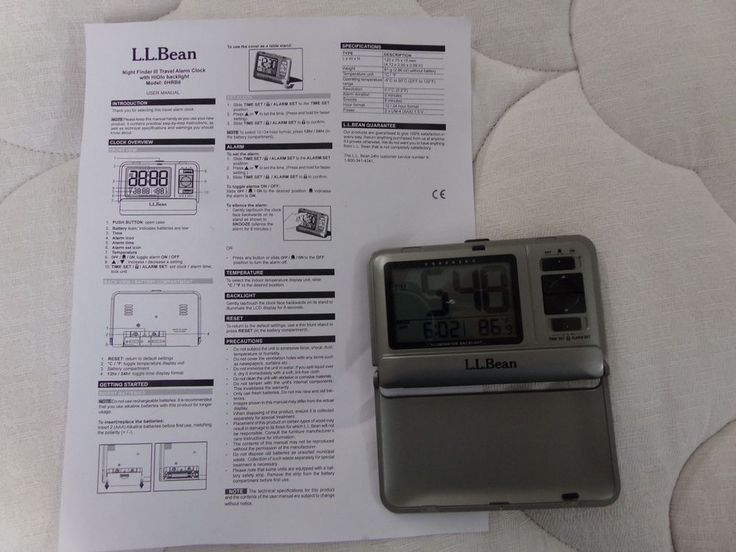 ll bean night finder iii travel alarm clock with led backlight with instructions  llbean