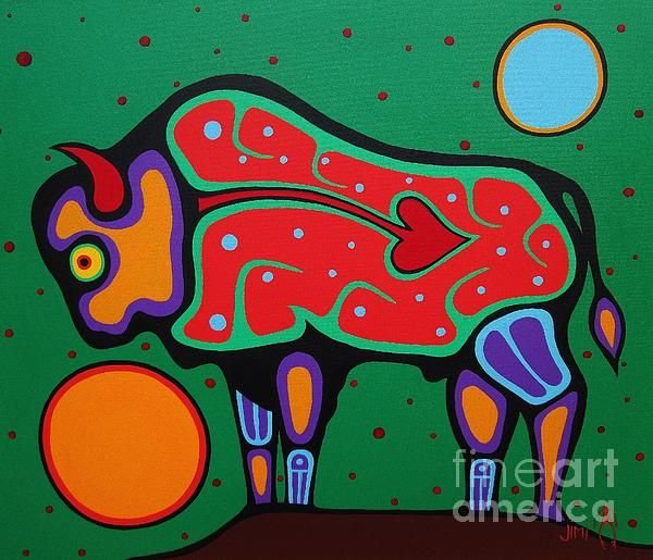 Bison by Jim Oskineegish - Bison Painting - Bison Fine Art Prints and Posters for Sale