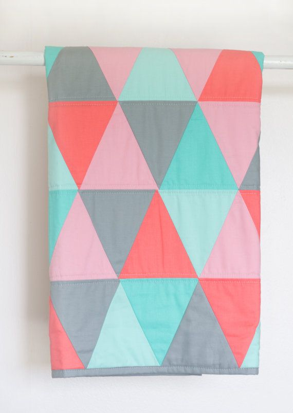 Triangle Baby Quilt  Modern Baby Quilt  Coral by FlyingGooseQuilts, $89.00