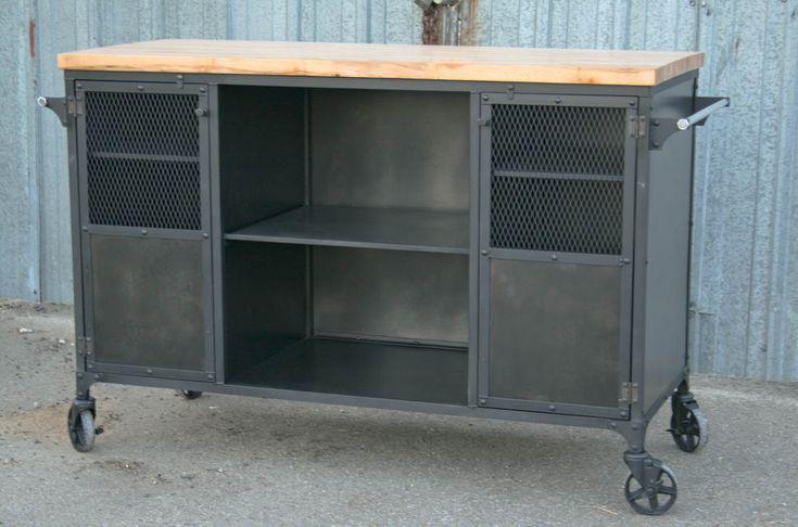 Industrial Kitchen Island, Modern Bar Cart from Combine 9 Design - Combine9.com