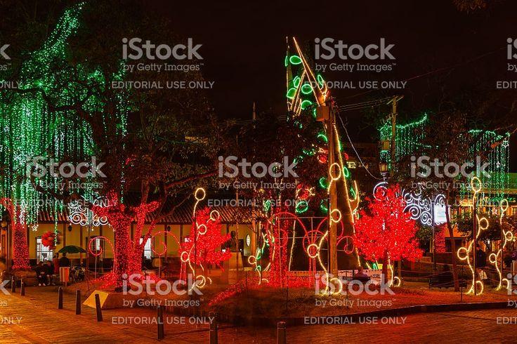 Bogotá, Colombia: Christmas lights on Plaza Usaquén royalty-free stock photo