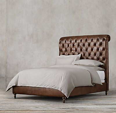RH's Chesterfield Leather Sleigh Bed:The style, construction and comfort of a fine Chesterfield sofa, brought to the bedroom and sloped to a most inviting angle of repose. Generously padded, our bed features deep hand tufting  – a style perfected during the Victorian and Edwardian eras – accented with upholstery tacks.