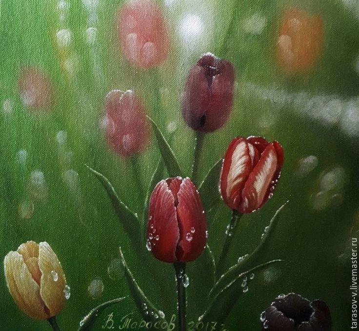 Buy After the rain. ( Vladimir Tarasov) - green, yellow, red, purple, tulips