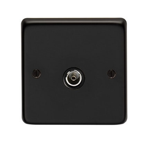 Matt Black Single TV Socket - This single TV socket is a high quality product with a matt black finish. Ideal to use alongside our other black iron fixtures and fittings.