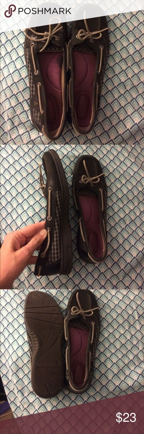 Sperry angelfish Black These are black pair of sperry shoes. I wore them 3 or 4 times. I have a bad foot, and they didn't work for me. There is an odd little spot on the left foot. I have no idea what it is; I didn't wear them enough to make a stain. I think it's just discoloration. I like to be up front. Sperry Top-Sider Shoes Flats & Loafers