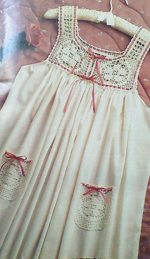 Vintage Crochet Flower Fillet Nightgown Pattern by MAMASPATTERNS