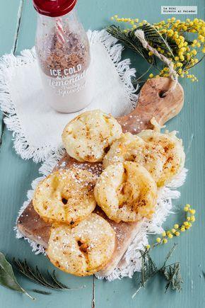 Aros fritos de manzana. Receta de postre para Navidad