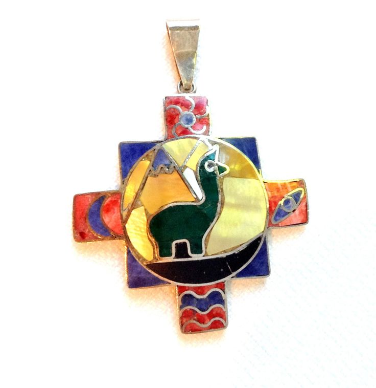 Colorful Chakana Pendant, 950 Silver, Handcrafted in Peru, FREE SHIPPING by BeadTrueToYourHeart on Etsy https://www.etsy.com/listing/204445892/colorful-chakana-pendant-950-silver