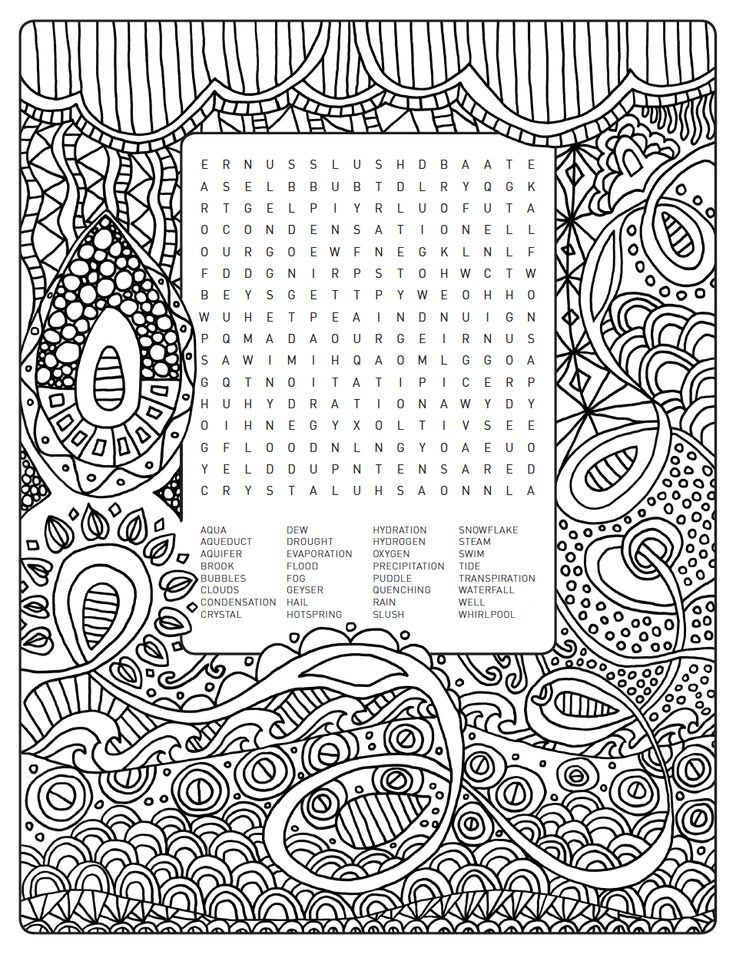 Weelife word search colouring page world of water for Water themed coloring pages