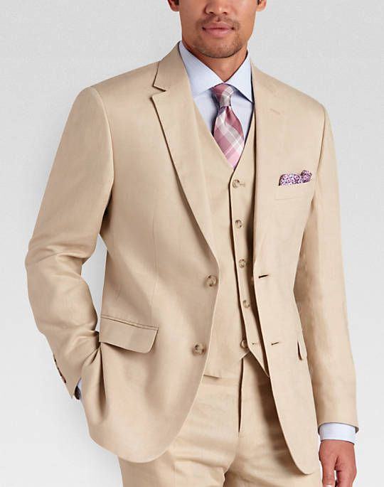 Pronto Uomo Platinum Modern Fit Linen Suit Separates Coat, Tan