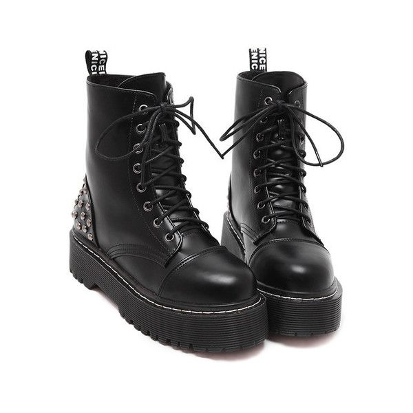 SheIn(sheinside) Black Rivet Thick-soled Lace Up Short Boots (29.855 CLP) ❤ liked on Polyvore featuring shoes, boots, ankle booties, black, winter boots, black winter boots, lace up platform bootie, black platform booties and lace up booties