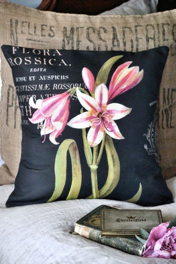 Pink Lily Burlap and Cotton Pillow Cover Burlap by JolieMarche
