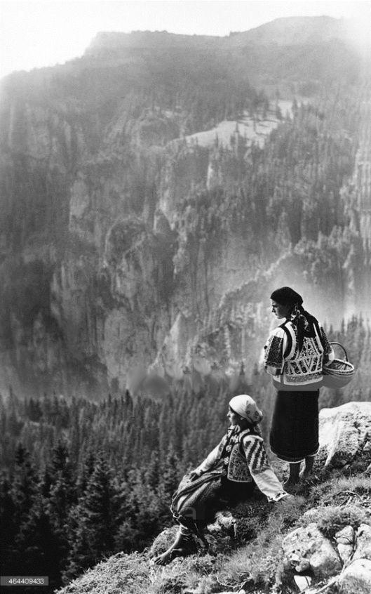Two women admiring a view, Bistrita Valley, Moldavia, north-east Romania, c1920-c1945. Photo by Adolph Chevallier
