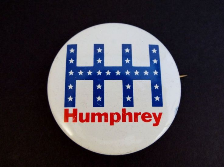 Hubert H Humphrey 1968 Pinback Political Presidential Election Pin Campaign pin