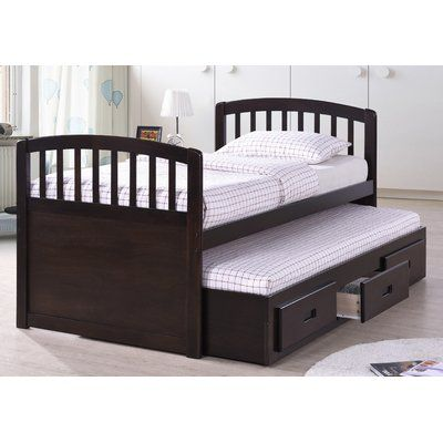 Best Quality Furniture Twin Captain Bed with Trundle Bed Finish: Cappuccino
