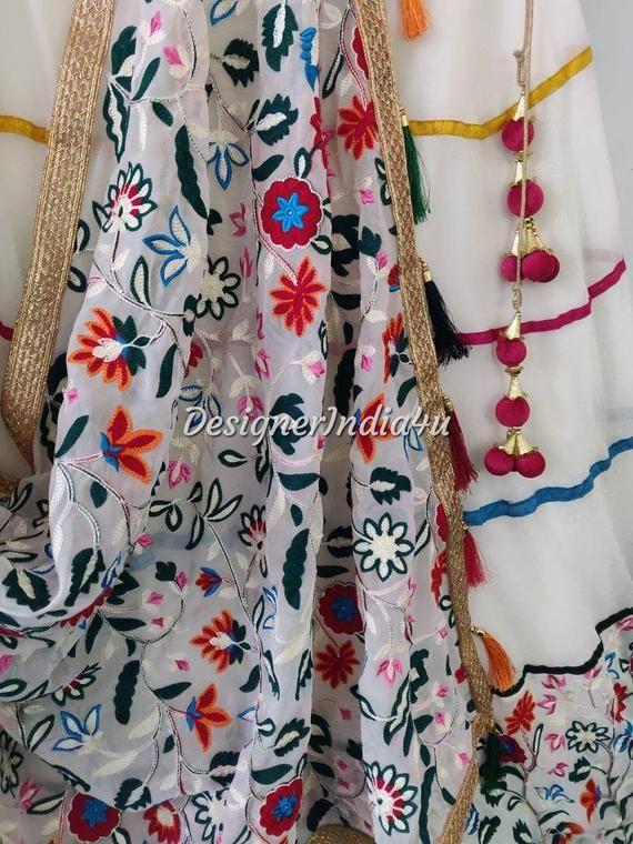 f6ae5b0c19 Ivory Color Embroidered Lehenga Choli Dupatta Custom Made Indian ...