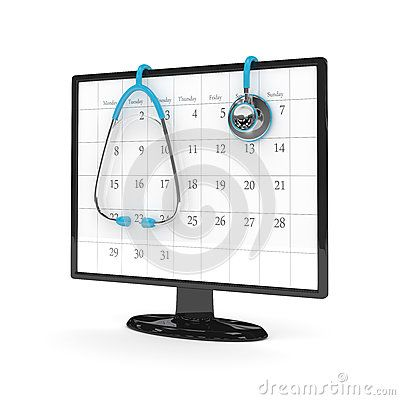 3d rendering of computer monitor with calendar and stethoscope isolated over…
