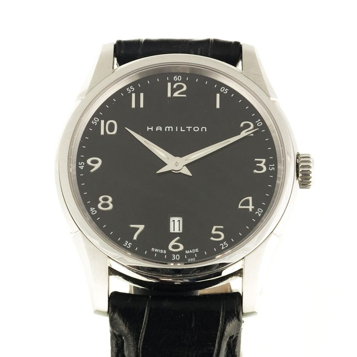 Hamilton quartz watch in 40 mm size with date function at 6 o'clock - dial has a chrome flash