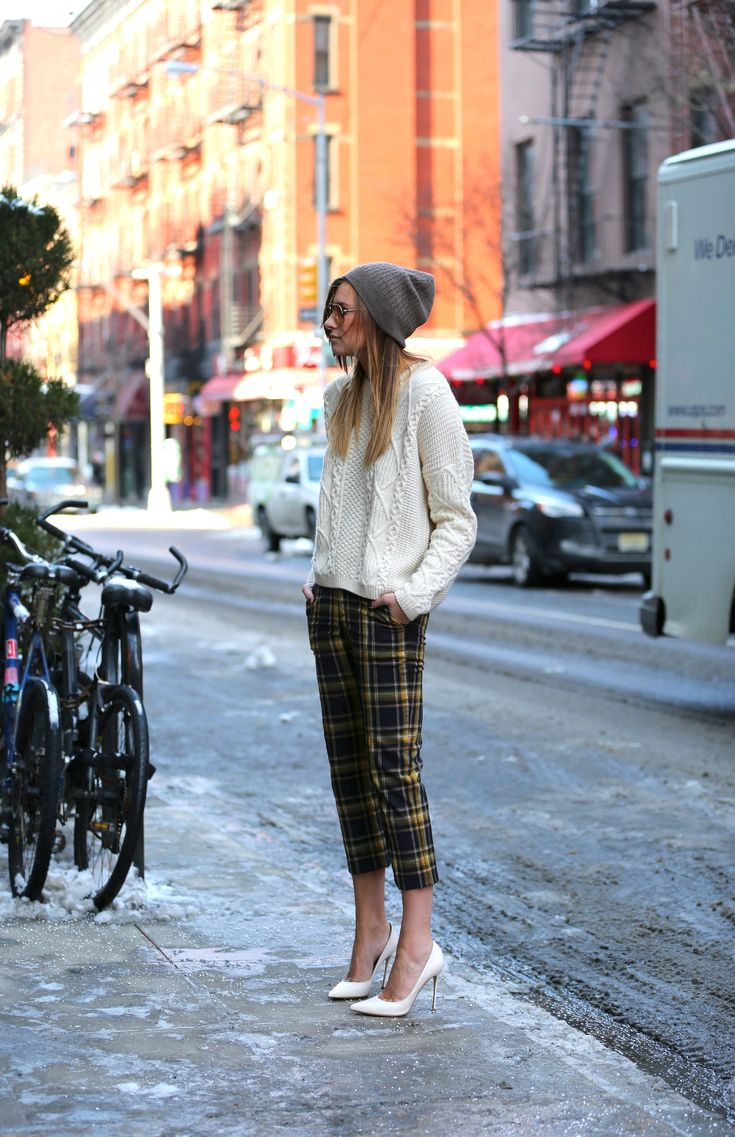 cable knit + cropped plaid pants + beanie