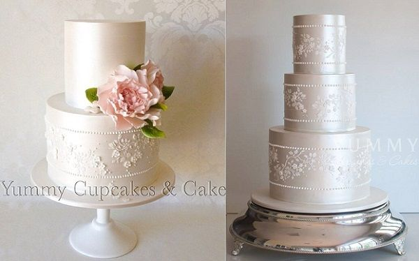 Lace sash wedding cakes by Yummy Cupcakes & Cakes