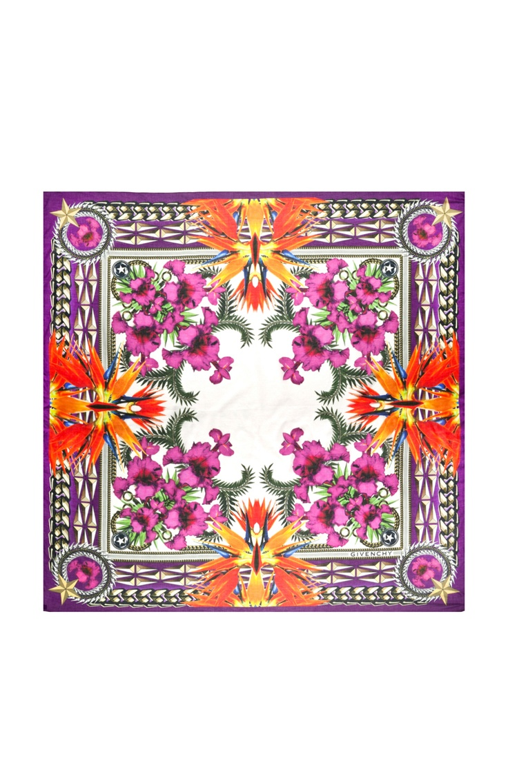 GIVENCHY  Birds of Paradise Flowers Scarf in Pink