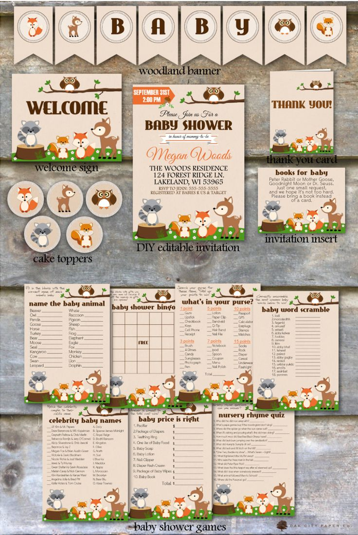 Woodland Baby Shower Party Package  by OakCityPaperCompany on Etsy