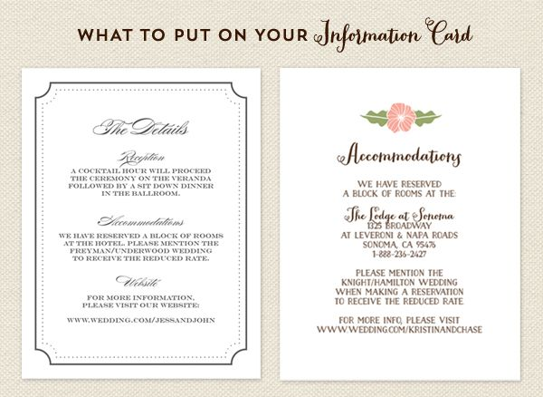 The information card or info card for short is a great way to provide your guests with information about your wedding that hasn't been included on the invitation. Here are a few examples of information you can include on your info card. 1) Accommodations – Providing accommodation information can be really helpful for destination weddings …