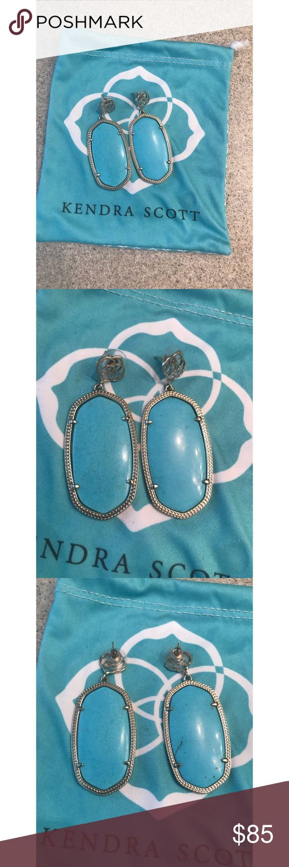 """Kendra Scott """"Davey"""" Earrings - EUC!! Kendra Scott """"Davey"""" Post earrings in Turquoise set in gold. Danielle size. These are in excellent condition! Rare and hard to find! I have not seen anything like these on any sales sites. From a smoke-free home as well. No trades! Firm price! Bundle for a discount! Kendra Scott Jewelry Earrings"""