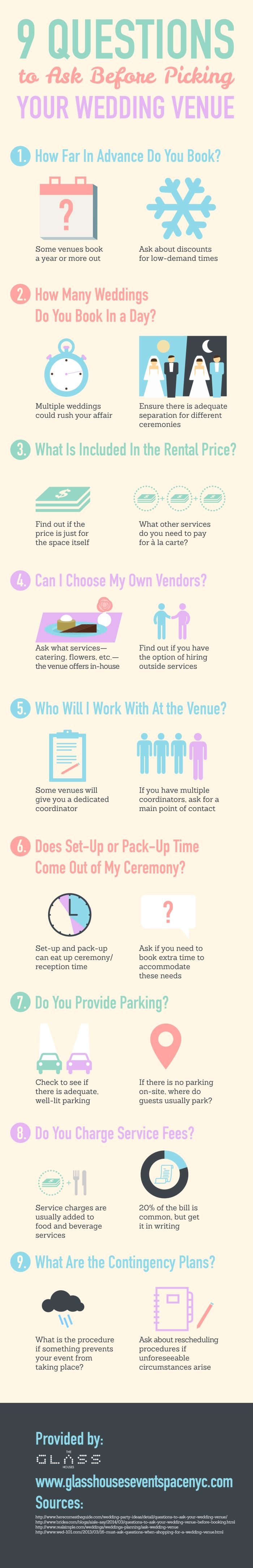 It's important to ask about parking when looking for a wedding venue. If there is no parking on-site, ask where guests usually park during special events. Find other questions to ask by reading through this infographic from a wedding venue in NYC!