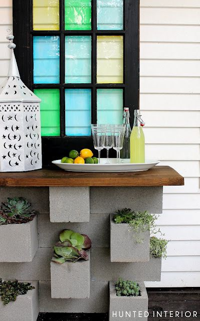 Concrete block planter bar - what an idea!