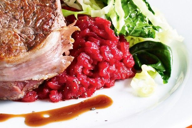 This beetroot-based risotto uses red wine, so it's a perfect match for beef. What's more, it looks great and is super-healthy, too.