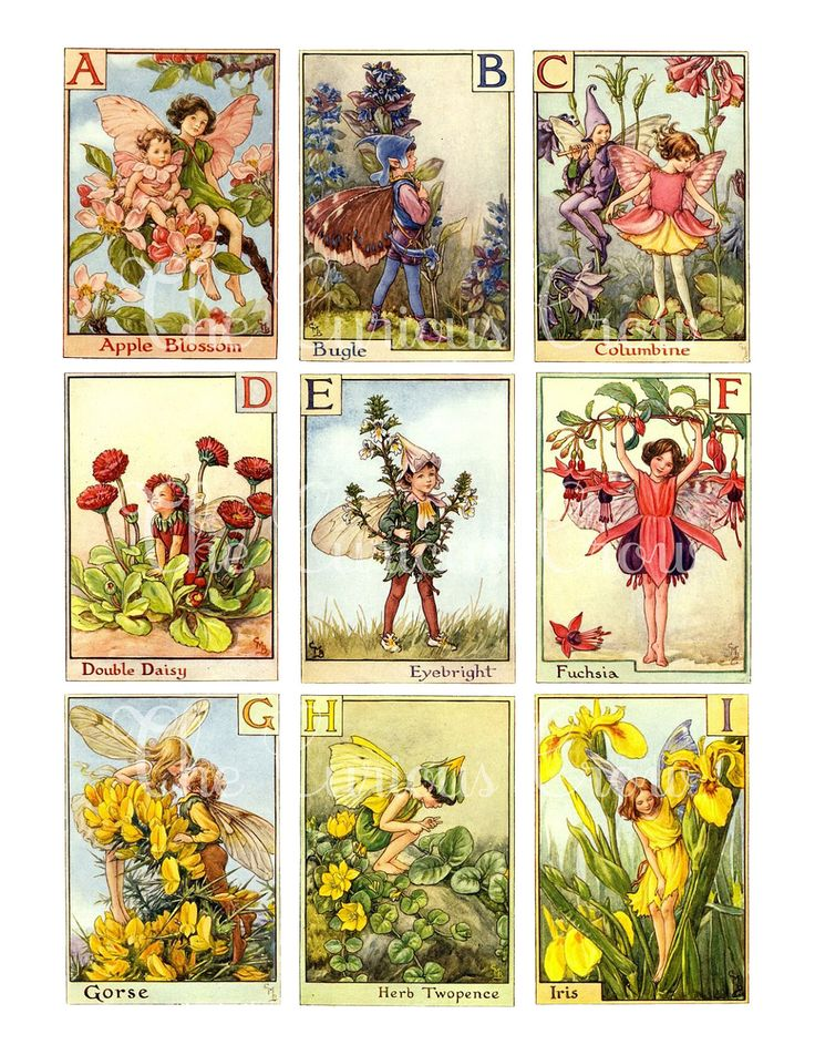 Vintage Alphabet Fairies Digital Collage door CuriousCrowDigital