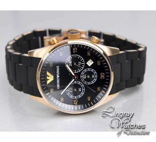 New EMPORIO ARMANI Mens Black and Gold Chronograph Watch AR5905 SHIPS FROM USA ! BEAUTIFUL AND ON SALE!