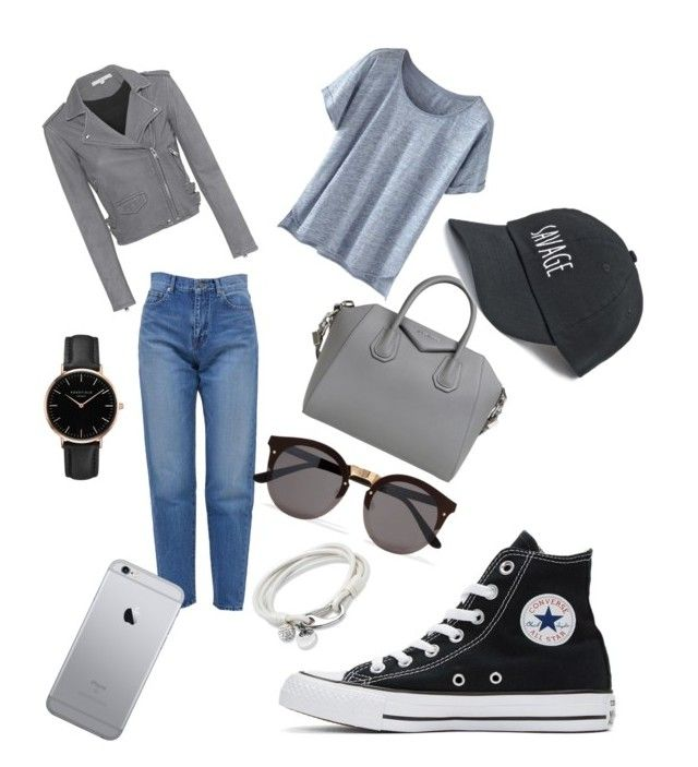 """Simple 🖤"" by iuliacalin on Polyvore featuring Yves Saint Laurent, Wrap, Givenchy, IRO, Converse, SO, Illesteva and Topshop"