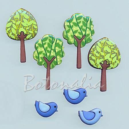 Dress-it-Up - Forest Flair - Para las amantes de los botones bonitos, estos son perfectos para patchwork, y todo el contenido tiene un precio de 2,95€ en la tienda de botonalia. Pajaritos y árboles, ¡muy útiles!
