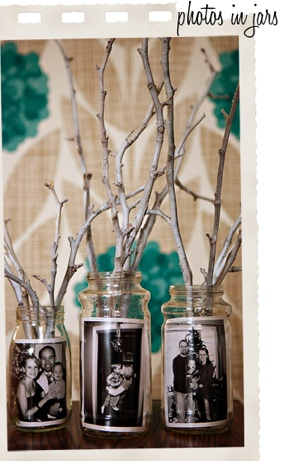 † Photos in jar: Simply add a photo to the inside of a jar. You can use the jar as a vase to hold flowers or twigs (as shown) or use two jars with the inmost one holding a candle and the photo safely between the two jars.