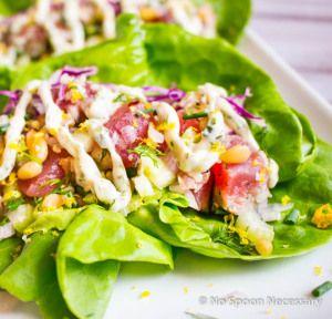 Yellow Fin Tuna Lettuce Wraps with Creamy Horseradish Aioli
