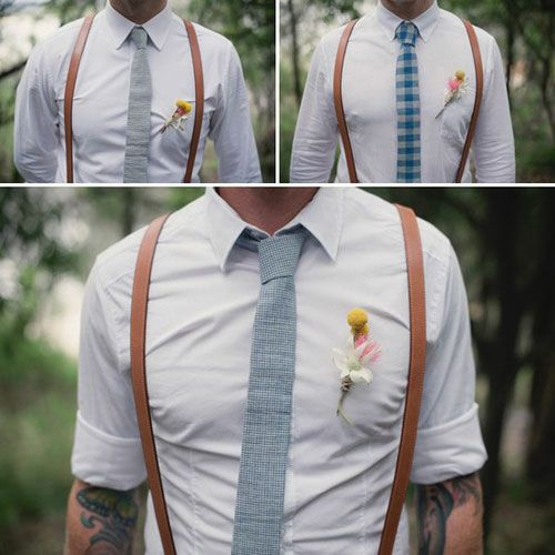 curate this spaceGroomsmen, Ideas, Bows Ties, Leather Suspenders, Style, Braces, Skinny Ties, White Shirts, Grooms Outfit