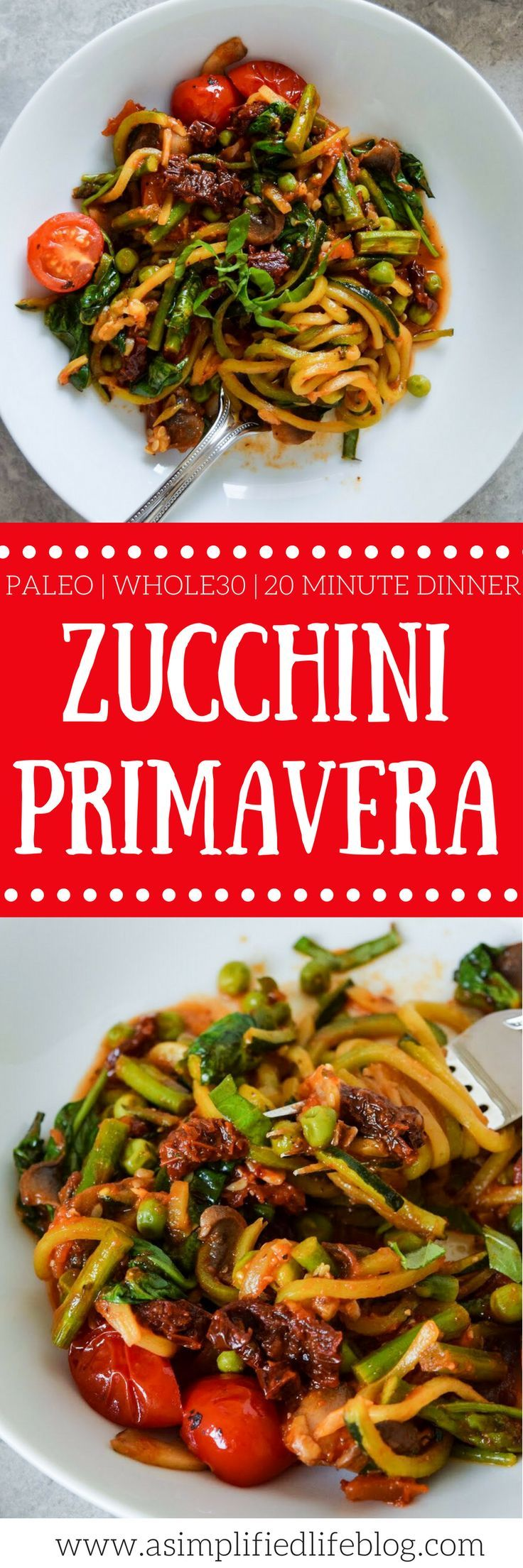 This Zucchini Primavera is bursting with flavor and an easy 20-minute Paleo and Whole30 dinner! Pair it with grilled chicken or shrimp, or enjoy as is!