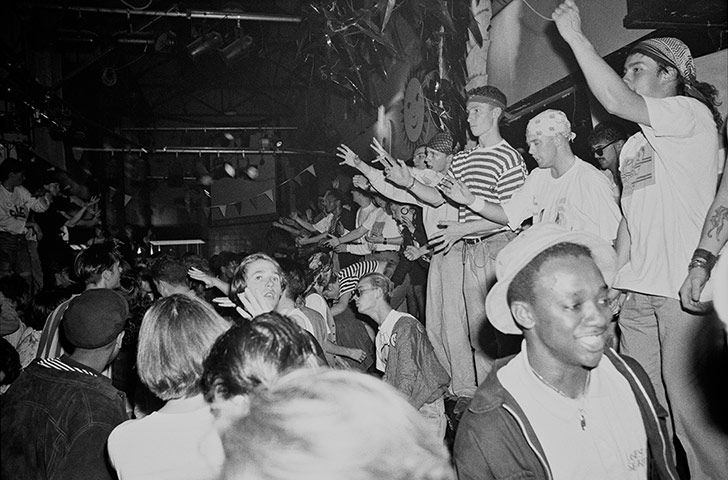Clubbers at the Hacienda in Manchester, circa 1989